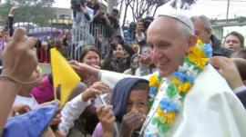 The pope with children in Brazil