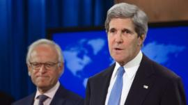 John Kerry announcing that Martin Indyk will head Israeli-Palestinian peace talks