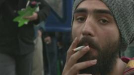 Uruguayan man smokes cannabis