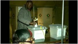 Zimbabwean man at a polling station