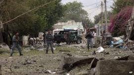 Scene of Jalalabad bomb blast, 3 August 2013