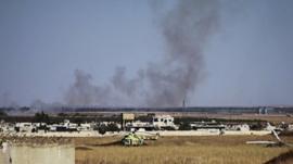 Smoke rising from Menagh air base near Aleppo