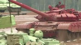 Tanks taking part in tank biathlon