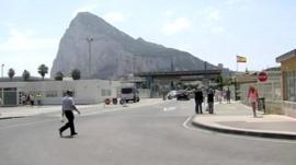 Border entrance between Southern Spain and Gibraltar