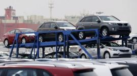 Hyundai cars being transported
