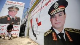 Posters showing Abdul Fattah al-Sisi in Cairo (7 August 2013)