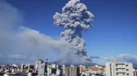Smoke rises after an eruption of Mount Sakurajima in Kagoshima, southwestern Japan, in this handout photo taken and released by Kagoshima Local Meteorological Observatory 18 August, 2013