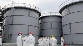 Storage tanks of contaminated water at Fukushima (file pic)