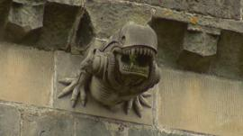 A gargoyle on an historic 13th century Paisley Abbey