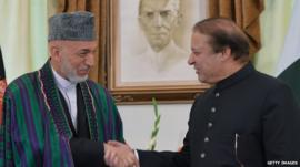 President Hamid Karzai shakes hands with Prime Minister Nawaz Sharif