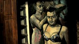 Painting of the Russian president and prime minister in women's underwear