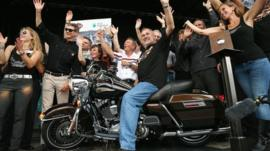 Harley-Davidson chairman Keith Wandell on 2103 Harley-Davidson 110th Anniversary Road King motorcycle