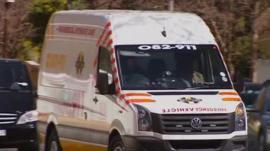 An ambulance arrives outside Nelson Mandela's home on 1 September 2013