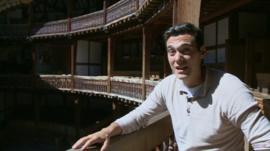 Joe at the Globe Theatre in London