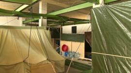 Make-shift refugee shelter in Lebanon slaughterhouse