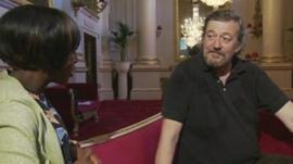 Stephen Fry with Brenda Emmanus