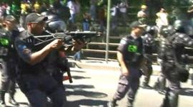 Police using tear gas and rubber bullets