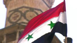 Syrian flag outside catherdral