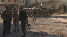 Tank in Maaloula, Syria
