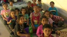 Children in the Becca valley camp