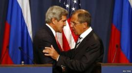 John Kerry and Sergei Lavrov