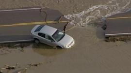 Car stuck in Colorado flooding
