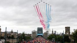 Athletes crossing the Tyne Bridge as they compete in the 2013 BUPA Great North Run in Newcastle.