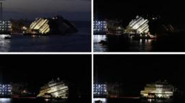 A combination photo shows the capsized cruise liner Costa Concordia during and at the end of the operation