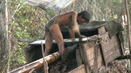Small-scale gold miner in Indonesia