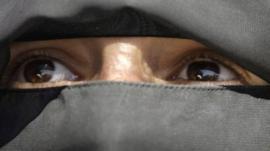 Woman wearing veil