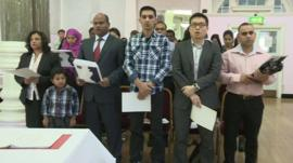 People at a citizenship ceremony