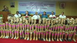 Artificial limbs provided by the Thai and Bangladeshi governments