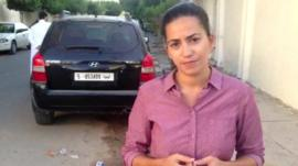 BBC reporter Rana Jawad outside Anas al-Liby's home
