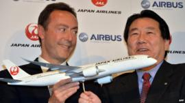 Airbus president Fabrice Bregier and Japan Airlines president Yoshiharu Ueki