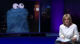 Emily Maitlis talking to Cookie Monster