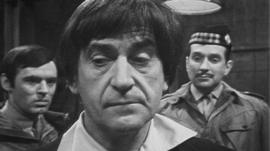 Still from Dr Who episode with Patrick Troughton playing the Doctor.