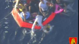 A life raft carrying survivors floats in the sea between Malta and Lampedusa