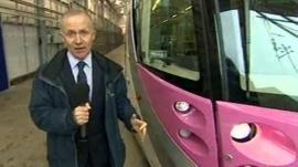 Bob Hockenhull next to new Urbos 3 tram