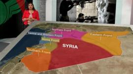 Lina Sinjab with a map of Syria