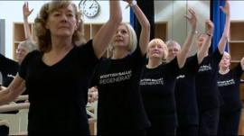 Pensioners practicing ballet