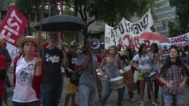 Protesters in Rio de Janeiro