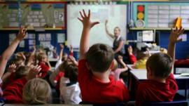 Children in a primary school classroom