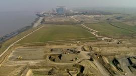 Building site near existing Hinkley Point power plant