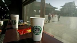 Starbucks cups in Beijing