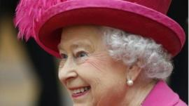 The Queen during her visit to The National Theatre