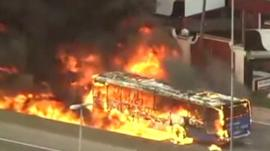 Bus on fire on Sao Paulo highway
