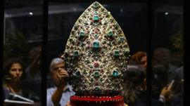 This bishop's mitre is encrusted with 3326 diamonds, 164 rubies, 198 emeralds and 2 garnets