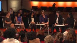 BBC glass ceiling panel: Michaela Bergman, Heather Jackson, Rehana Azib, Lucy Hockings, Helen Clark, Andy Kawa