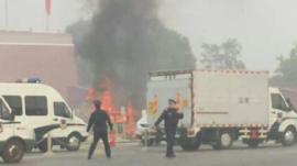 The crash and fire at Tiananmen Square in Beijing, China