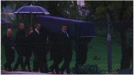 The coffins of the two French journalists killed in Mali